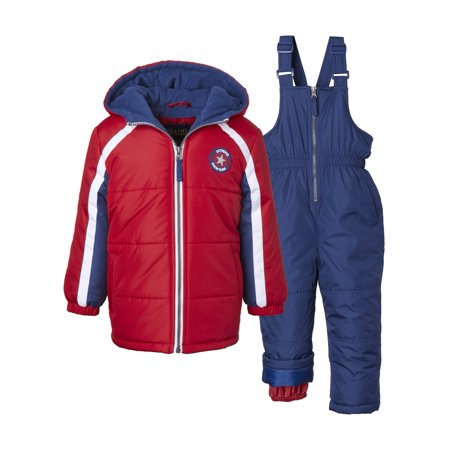 iXtreme Baby Toddler Boy Star Emblem Winter Jacket Coat & Snow Bib Snow Pants, 2pc Snowsuit Set ()