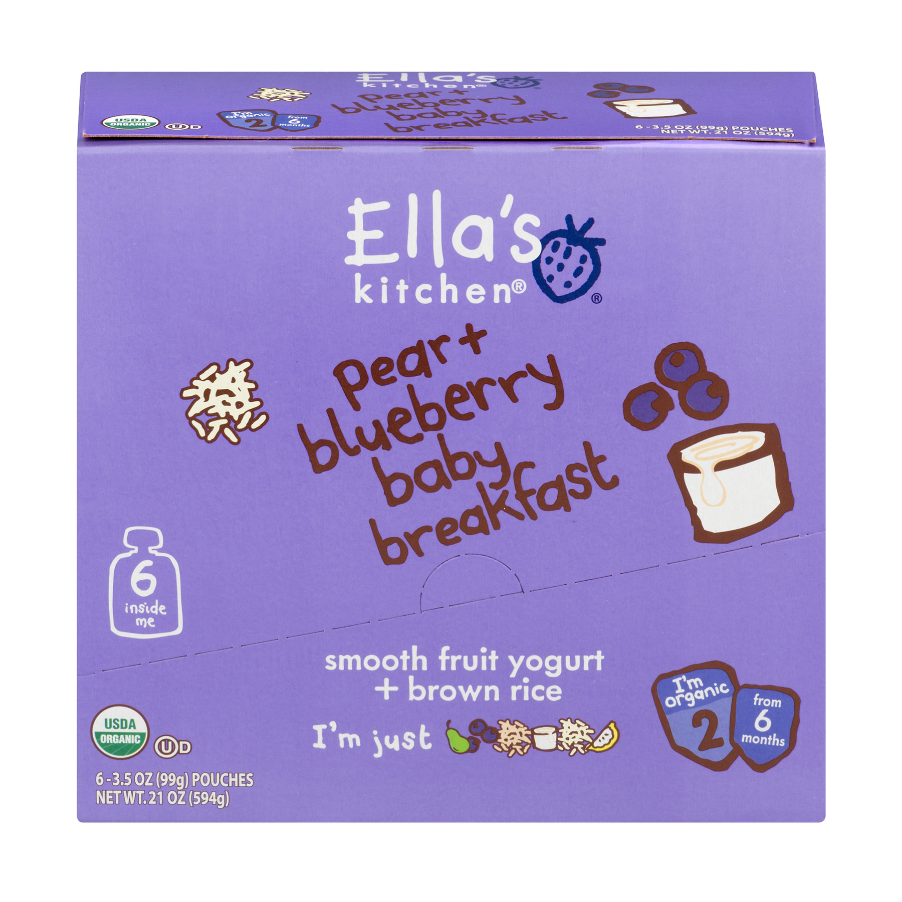 Ella's Kitchen Organic Baby Food Organic Pear + Blueberry Baby Breakfast 6+ Months , 3.5 oz, 6 Pack