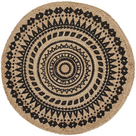 - Bungalow Rose Johnson Black/Natural Area Rug