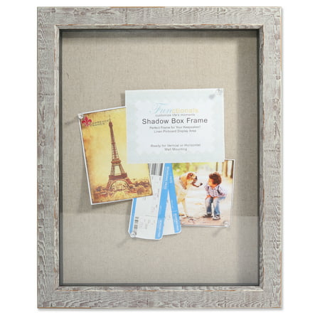 11x14 Weathered Birch Shadow Box - Linen Display Area