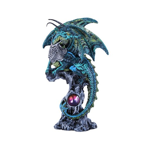 Small Winged Guardian Jade Dragon Knight with Rhinestone Rock Crystal