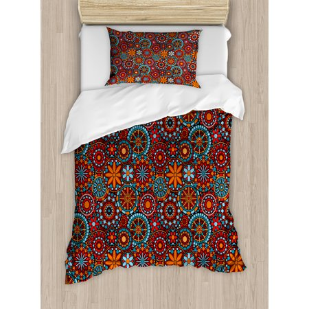 Mandala Duvet Cover Set, Ethnic Asian Tribal Circular Floral Cosmos  Symbolism Moroccan Design, Decorative Bedding Set with Pillow Shams,  Vermilion