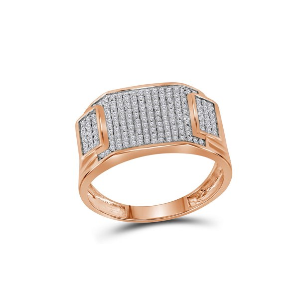 10k Rose Gold Mens Round Diamond Rectangle Cluster Ring 1/2 Cttw
