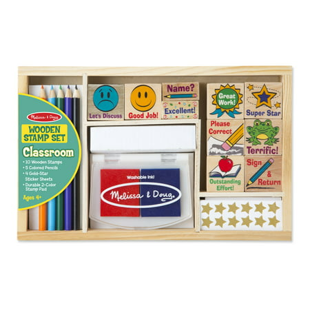 Melissa & Doug Wooden Classroom Stamp Set With 10 Stamps, 5 Colored Pencils, 4 Sticker Sheets, and 2-Colored Stamp Pad