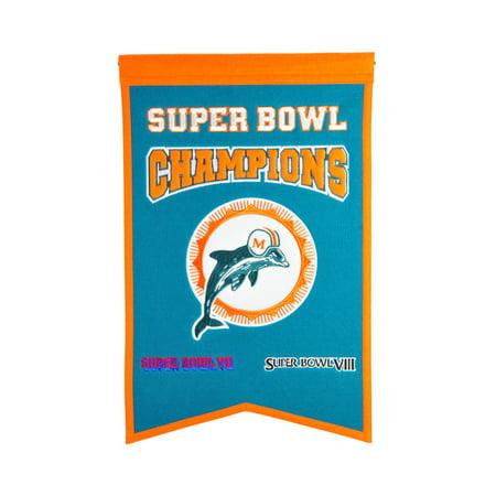 Miami Dolphins Heart Tag (Winning Streak - NFL Champions Super Bowl Banner, Miami)