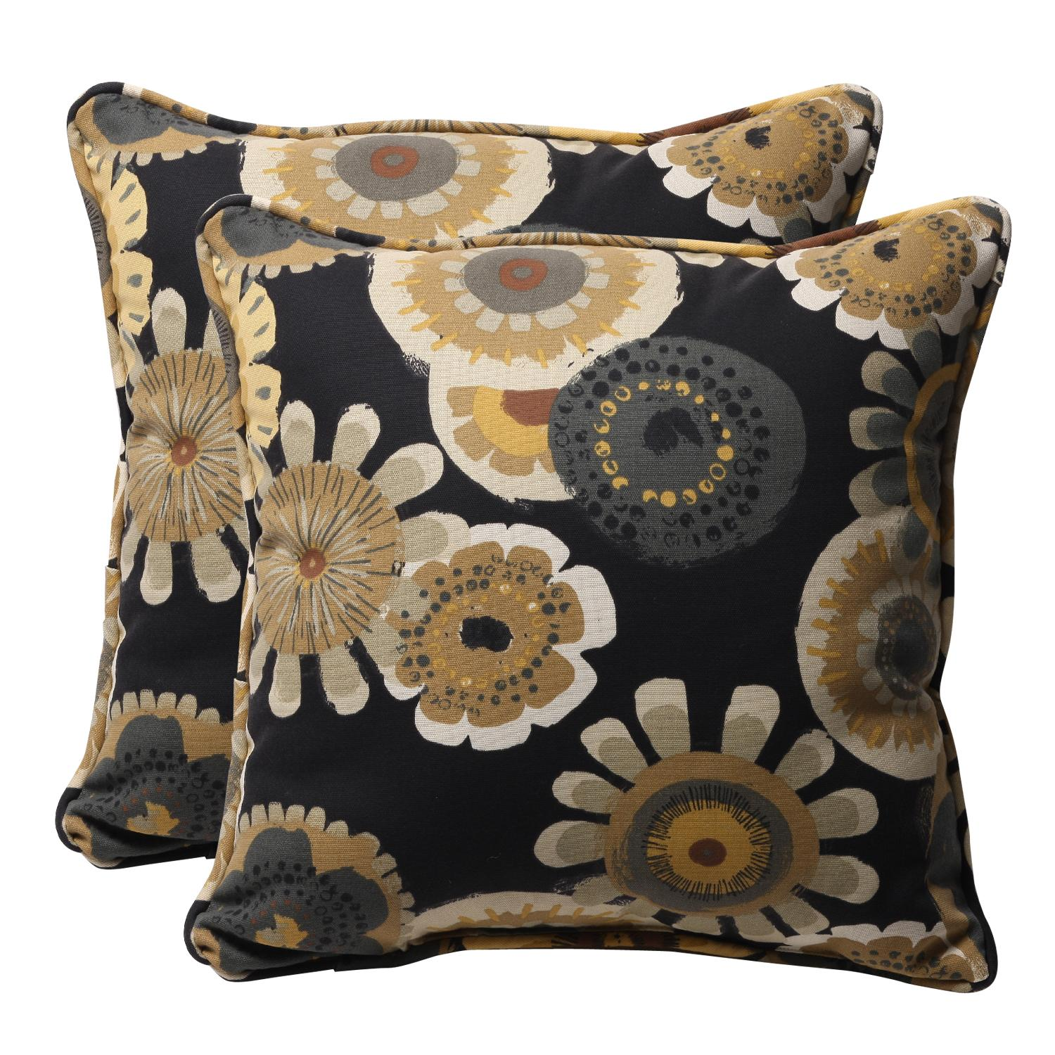 Pack of 2 Eco-Friendly Recycled Black/Yellow Floral Outdoor Throw Pillows 18.5""
