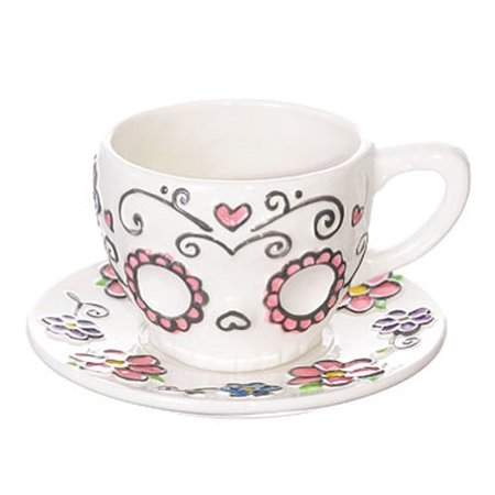 Ceramic Sugar Skull Teacup and Saucer Set in Gift Box ()