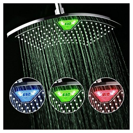 dreamspa 1489 aquafan 12 inch all-chrome rainfall shower-head with color-changing led/lcd temperature display,