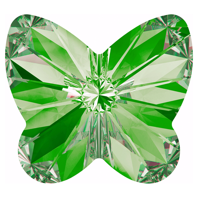 Swarovski Crystal, #4748 Rivoli Butterfly Rhinestones 10mm, 4 Pieces, Peridot F
