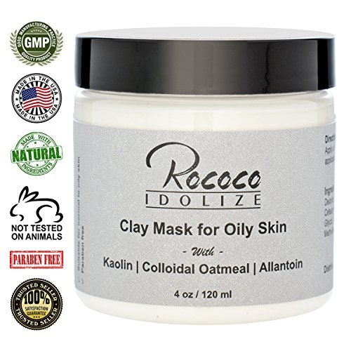 Clay Mask for Acne Prone Skin with Kaolin Clay Colloidal Oatmeal Allantoin Detoxify Skin Cleanse Pores Minimize Oily Skin - 4oz