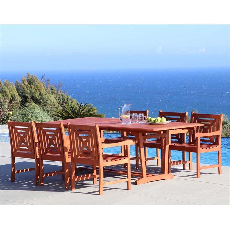 Vifah Malibu 7 Piece Hardwood Patio Dining Set