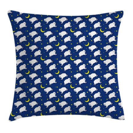 Cartoon Decor Throw Pillow Cushion Cover, Cute Sleeping Lambs Pattern with Crescent Moon and Stars Bed Children Print, Decorative Square Accent Pillow Case, 16 X 16 Inches, Blue White, by Ambesonne](Crescent Moon Cartoon Halloween)