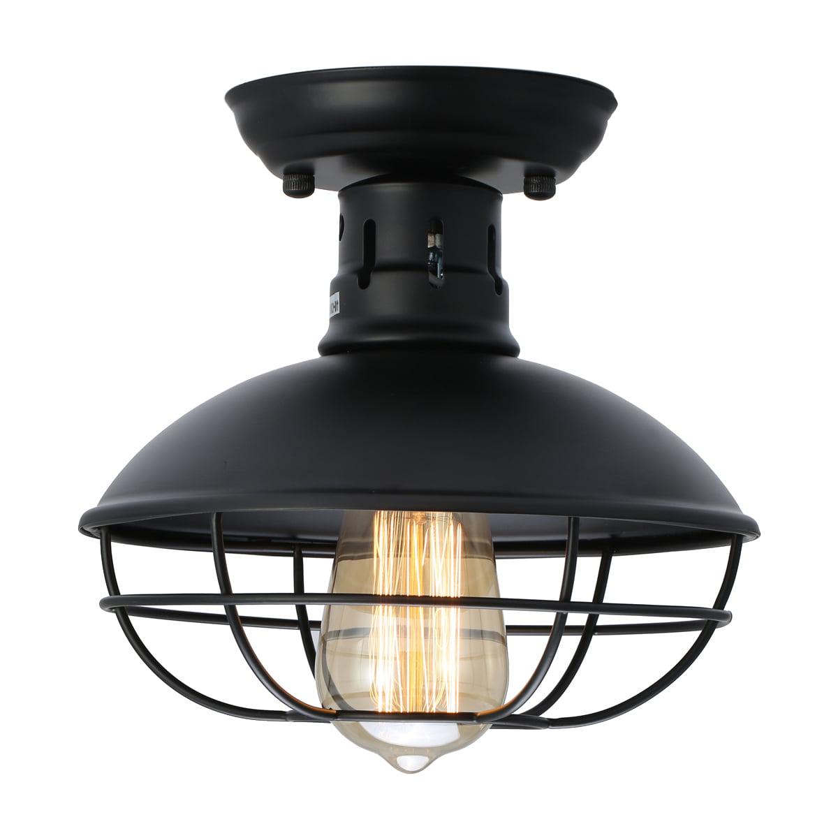 Industrial Metal Cage Ceiling Light E26 Rustic Mini Semi
