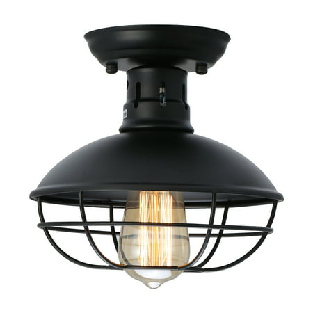 Industrial Metal Cage Ceiling Light, E26 Rustic Mini Semi Flush Mounted Pendant Lighting Dome/Bowl Shaped Lamp Fixture Farmhouse Style for Foyer Kitchen Garage Porch Entryway Uplight Semi Flush