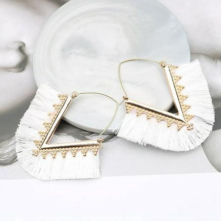 AkoaDa Bohemia Tassel Hoop Earrings For Women Vintage Golden Statement Jewelry Triangle Colorful Charm Earrings Female Charm Earrings Jewelry