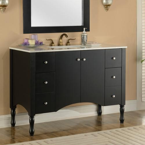 Infurniture Contemporary Style 48-inch Carrara White Marble Top Single Sink Bathroom Vanity in Black Finish