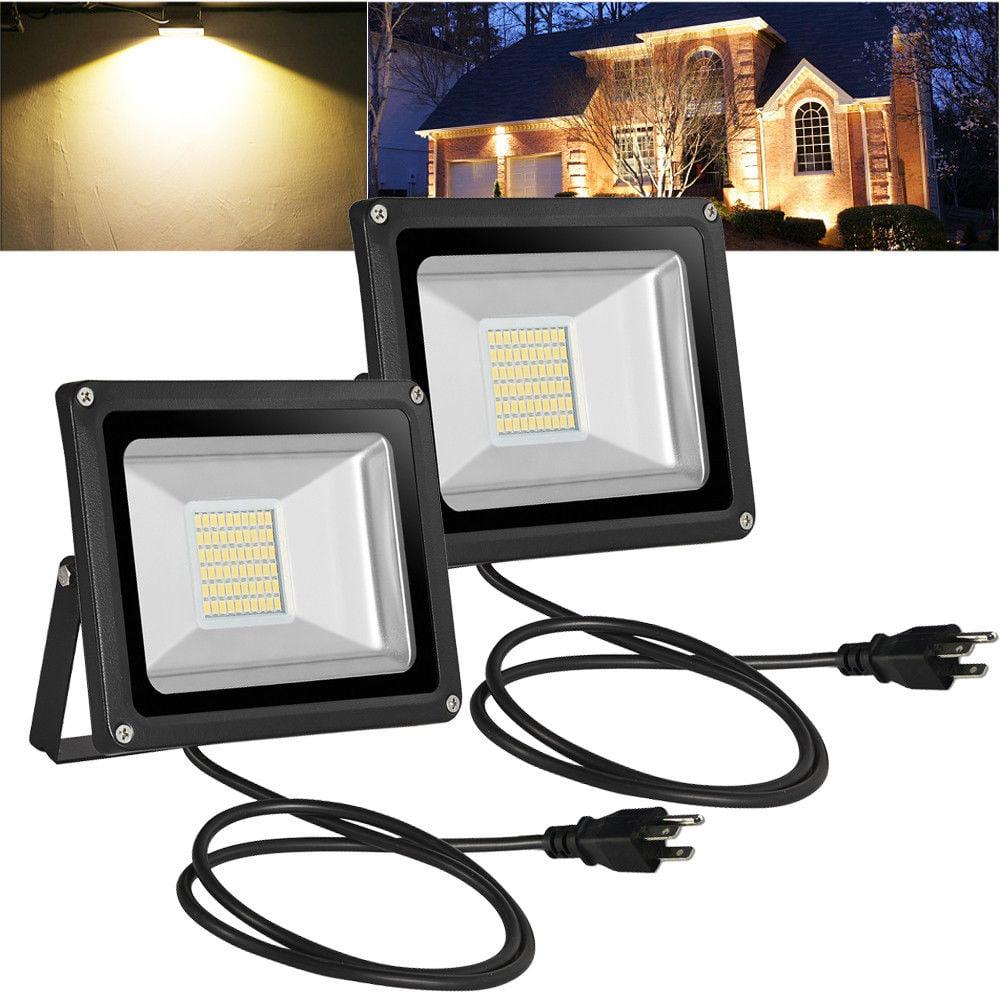 2pcs 30W LED Flood Light Warm White with US Plug 110V