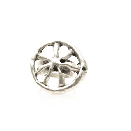 - Wheel Antique Silver Plated Adjustable Ring