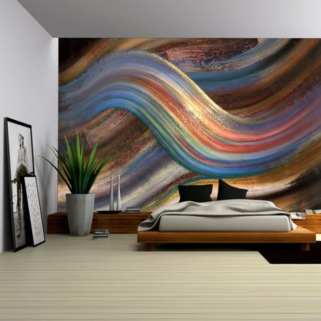 wall26 - Abstract Painting Showing a Symbolic Alternating Scenery - Removable Wall Mural | Self-adhesive Large Wallpaper - 100x144 -