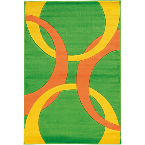 "Corfu Power Loomed 1'10"" x 2'10"" Rug, Lime/Goldenrod"