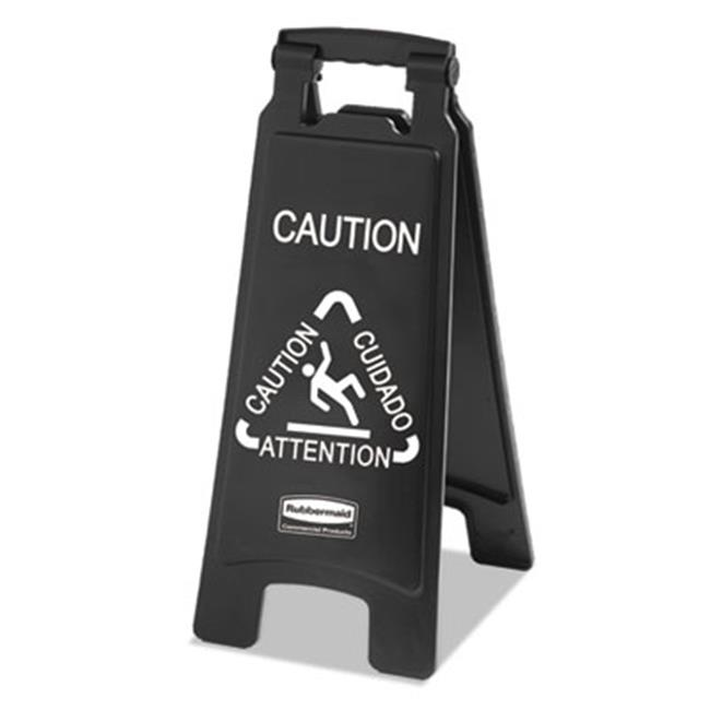 Rubbermaid Commercial 1867505 Executive 2-Sided Multi-Lingual Caution Sign, Black & White