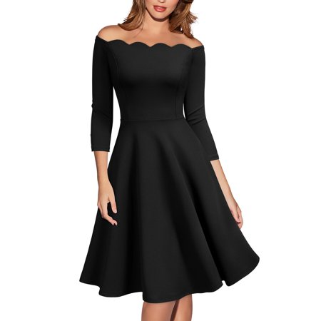 MIUSOL Women's Vintage 1950s Casual Off the Shoulder Cocktail Party 3/4 Sleeve A-line Pleated Dress(Black,Size XL) (1950s Party)