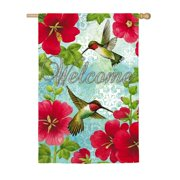 Evergreen Hummingbird and Hollyhock Suede House Flag, 43 x 29 inches #13S3628BL
