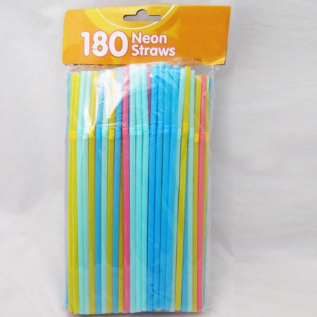 180 Neon Drinking Straws Flexible Plastic Party Home Bar Drink Cocktail Cup Fun - Fun Straws