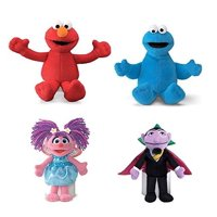 """Sesame Street Plush Beanbag Pals (5""""-7.5"""") Elmo, Cookie Monster, Abby Cadabby and Count Von Count Set Bundle 4 Pack"""