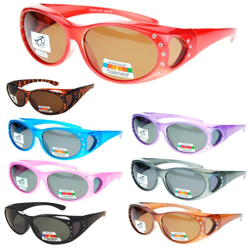 Womens Polarized Lens Anti Glare Fit Over Sunglasses Rhinestones Oval UV Protect