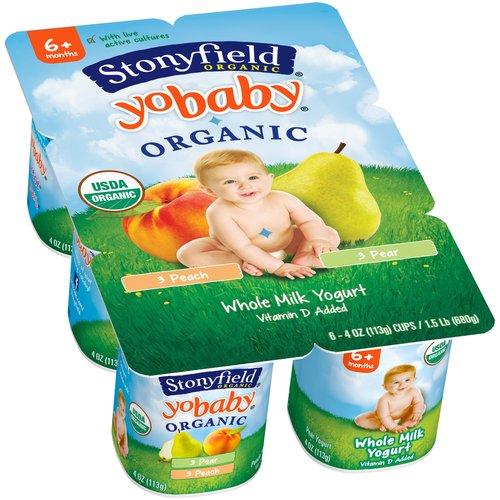 Stonyfield Organic YoBaby Peach/Pear Whole Milk Yogurt, 4 oz, 6 count