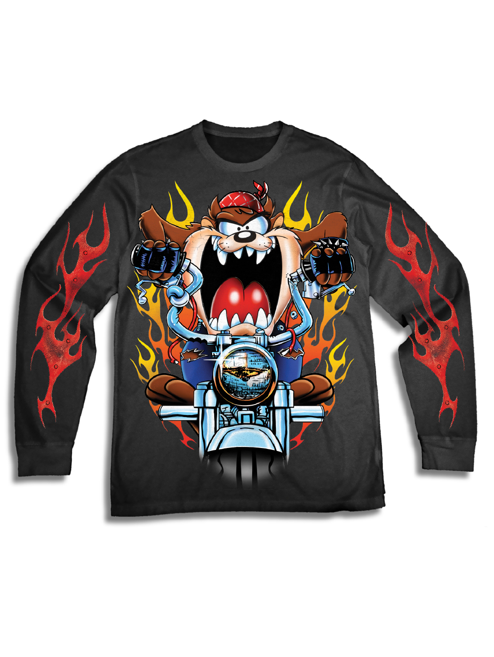 Looney Tunes Men's Taz Looney Tunes Long Sleeve Graphic Tee with Sleeve Prints