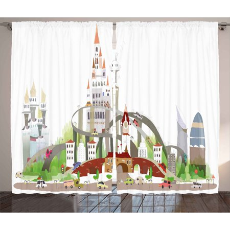 Excellent Fantasy Curtains 2 Panels Set Mega City Urban Scenery With Medieval Castle Style Skyscrapers City Illustration Window Drapes For Living Room Interior Design Ideas Inamawefileorg