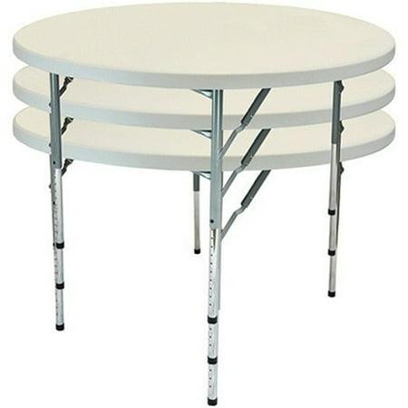 Advantage 4 ft. Round Adjustable Plastic Folding Table Adjustable Round Cafe Table