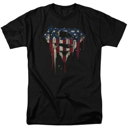 Superman Men's  Bleeding Shield T-shirt Black - Jesus Superman Shirt