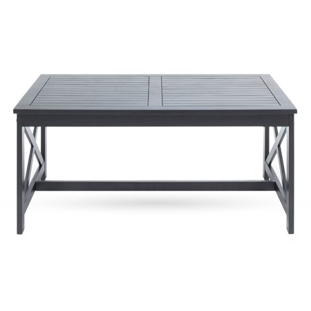 Wrought Iron Patio Coffee Table (Ismus Outdoor Acacia Wood Coffee Table, Black)