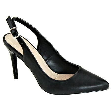 Misty-7 Women Pointed Toe Slingback Stiletto Heel Slip On Pumps Black - Misty Cosplay Shoes