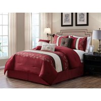 7-Pc Sabri Floral Vine Scroll Embroidery Pleated Stripe Comforter Set Burgundy Red Ivory Brown Queen