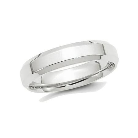 Mens Platinum with Beveled Edge 5mm Polished Wedding (Platinum Design Band)