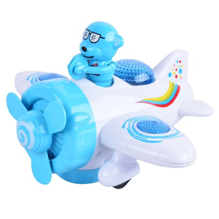 Electric Cartoon Airplane Toy with Figure LED Lighting and -