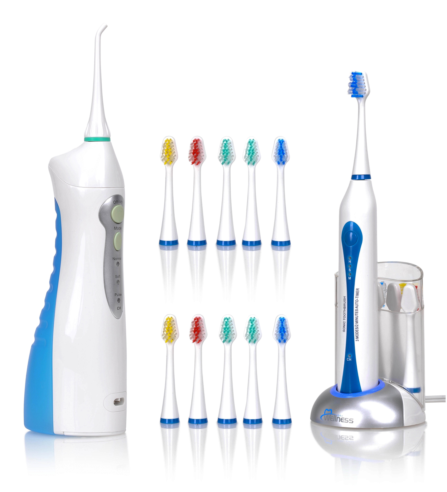 Wellness Oral Care Ultra High Powered Rechargeable Sonic Electric Toothbrush with 20 Heads and Water Flosser Kit