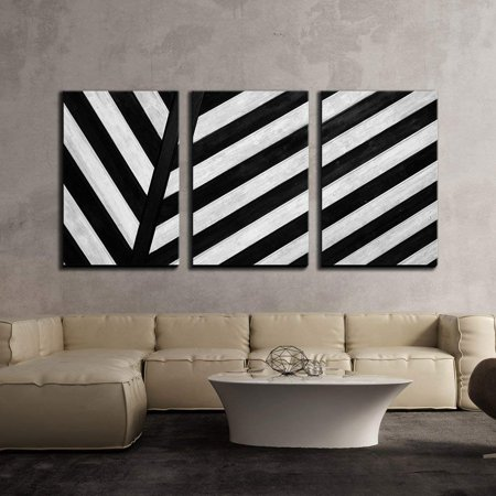 wall26 - 3 Piece Canvas Wall Art - Black and White Geometric Stripe in Black and White - Modern Home Decor Stretched and Framed Ready to Hang - 16