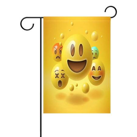POPCreation Yellow Emoji Smiley Garden Flag Emoticon Outdoor Flag Home Party 28x40 inches - Checkered Flag Emoji