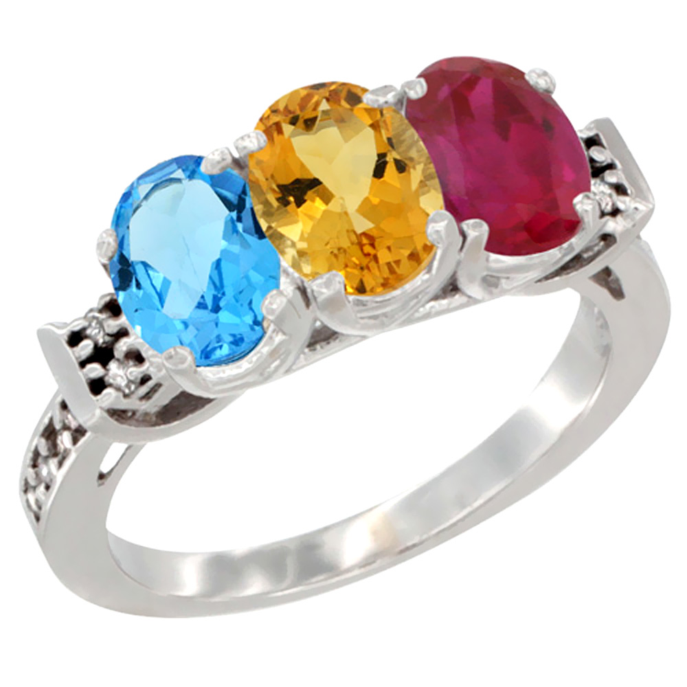 10K White Gold Natural Swiss Blue Topaz, Citrine & Enhanced Ruby Ring 3-Stone Oval 7x5 mm Diamond Accent, sizes 5 10 by WorldJewels