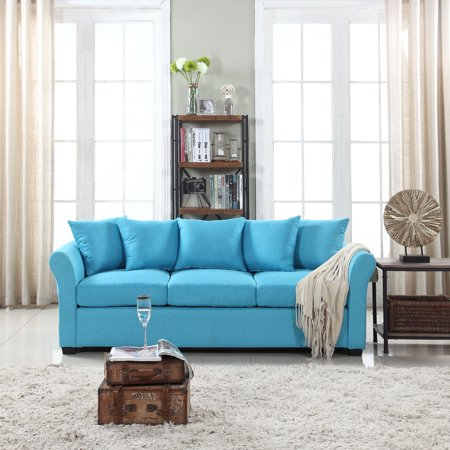 Classic and Traditional Comfortable Linen Fabric Sofa Living Room Couch, Blue ()