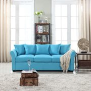 Classic and Traditional Comfortable Linen Fabric Sofa Living Room Couch, Blue