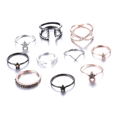 Bohemian Vintage Women Crystal Joint Knuckle Nail Ring Set of pcs Finger Rings Punk Ring Gift Amethyst Ladies Fashion Gold Ring