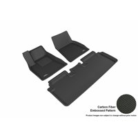 3D MAXpider 2012-2016 Tesla Model S Front & Second Row Set All Weather Floor Liners in Black with Carbon Fiber Look