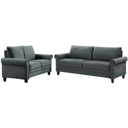 Transitional 2 Piece Sofa and Loveseat Set in Gray ()