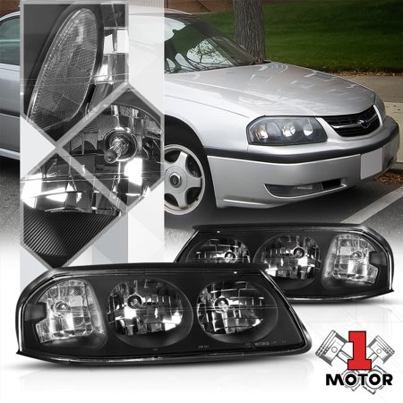 04 Chevy Impala - Black Housing Headlight Clear Corner Signal Reflector for 00-05 Chevy Impala 01 02 03 04